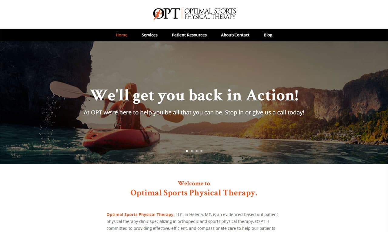 Custom Built WordPress Website – Optimal Sports Physical Therapy